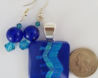 Royal blue dichoric glass pendant and earrings