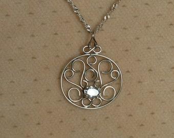 Vintage OOAK Aquamarine Scroll Work Pendant // Handcrafted Sterling Silver Gemstone Jewelry // March Birthstone