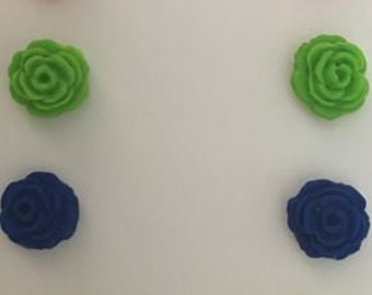 Polymer Clay Neon Rose Post Earrings