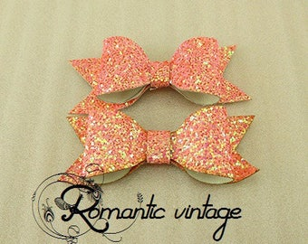2 cute bows coral-colored glittery gold 83 * 39mm