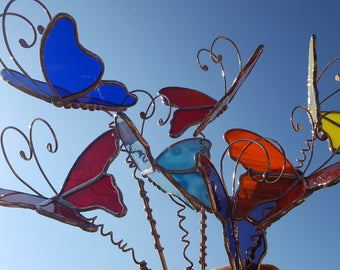 Stained glass 3D butterfly garden plant stake Made To Order handmade copper or silver color metal