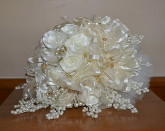 Wedding Bouquet - Bride - Original and One of Kind Piece - Satin Roses with Pearls