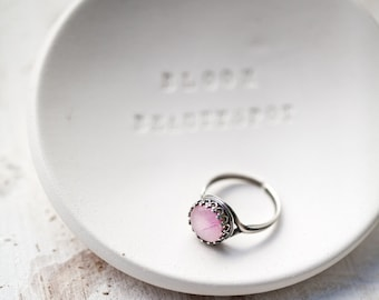 Pink peony ring, Dainty ring, Pink flower ring, Silver ring, Bridesmaid ring, Flower petal jewelry, Floral ring, Pink flower jewelry