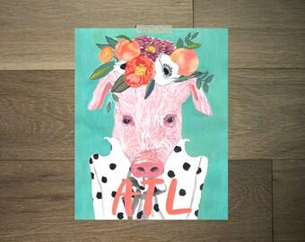 Cochon d'aquarelle vache Estampe - 8 x 10 - noir et blanc - atlanta-rose - vert - fleur couronne - ferme moderne art