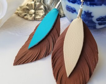 Statement Earrings, Leather Feather Earrings, Repurposed Leather, Boho Earrings, Leather Earrings, Turquoise, Girlfriend Gift, Boho Feather