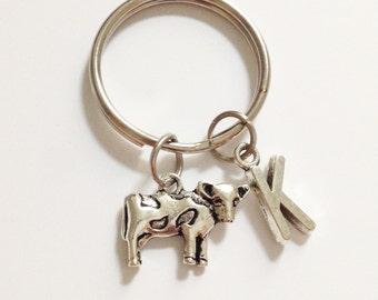 Cow keychain - animal keychain - personalized keychain - initial letter - customized - friendship - birthday - Christmas gift