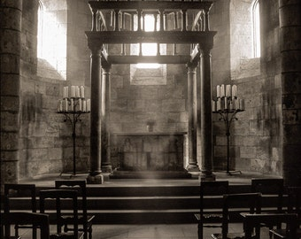 Medieval altar - Religious Cathedral, Gothic Architecture, Heavenly light and Dark shadows, Fine Art Photography Print