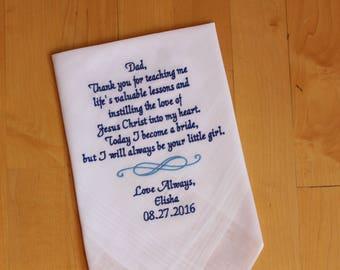 Father of the Bride Hankerchief, Christian Wedding Handkerchief,PERSONALISED,CUSTOM Wedding hankies-Dad Wedding Gift, INFINITY, MS1F23
