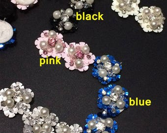 20PC beautiful off white/blue/black/pink/silver beads sequins 3D flowers DIY clothes/shoes/bag accessories 3cm width