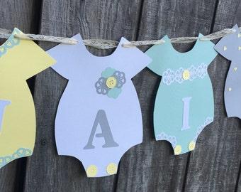 Shabby Chic Baby Shower Banner, Girl Baby Shower Banner, Baby Girl Nursery Banner, Onesie Banner, Gender Reveal Banner,