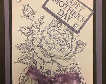 1- Happy Mothers Day send some love today -quality card , hand made with ribbon & rhinestones.. 1 Card  message me with your card choice.