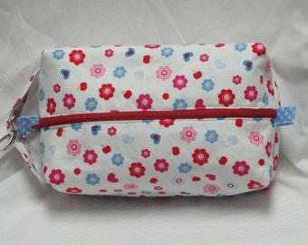 Flowers Apples Polka Dot Boxy Knitting Crochet Project Bag, Cosmetic Pouch, Ditty bag, Large boxy bag, Makeup Toiletry Bag, Diaper bag pouch
