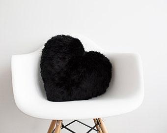 Black Heart Pillow Accent Pillow Throw Pillow Decorative Pillow Nursery Decor Fur Pillow Black Pillow Baby Pillow