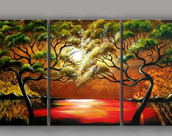 Colorful Trees Oil Painting Panel 3 Piece Set
