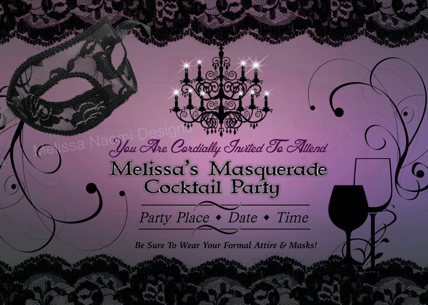 Masquerade Party Invitation DIGITAL FILE Customized