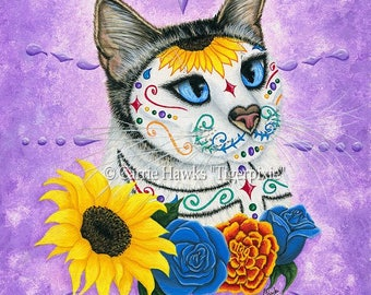 Day of the Dead Cat Sunflowers Art Mexican Sugar Skull Cat Gothic Cat Art Limited Edition Canvas Print 11x14 Art For Cat Lover
