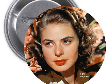 INGRID BERGMAN - large 3 inch collectible pinback button - Classic Movie Stars Collection