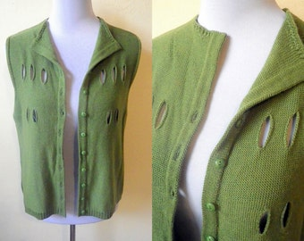 Sale: avocado green sweater vest (medium to large), Pantone color of the year, greenery
