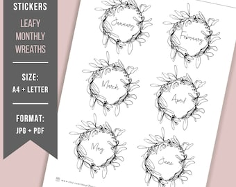 PRINTABLE Bullet Journal Monthly Stickers // Monthly planner stickers planner Monthly scrapbooking Printable BuJo stickers