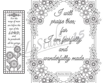 Bible Verse Coloring Pages, 1 coloring page with 1 coloring bookmark, Instant Download
