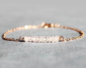 Rose Quartz and Rose Gold Bracelet - Minimalist Jewelry - Pink and Rose Gold Bracelet - Birthstone Bead Bar Bracelet