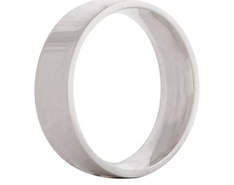 Wedding flat ring/band 6mm 9ct white gold
