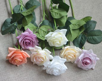 Real Touch Roses DIY Silk Wedding Centerpieces, Bridal Bouquets, Cake Decorations Single Stems