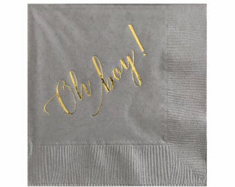 Oh bébé garçon douche serviettes | Bébé douche décorations - lot de 20 serviettes de table gris