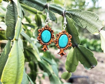 Tooled Leather Squash Blossom Earrings