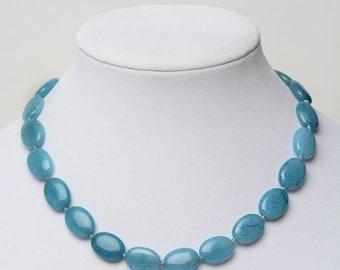 BRAZILIAN AQUAMARINE Oval Beaded Gemstone Necklace- Natural Stones- Yoga Jewelry- Gift for Women