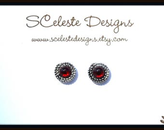 Magnetic Red Earrings, Magnetic Red Studs, Red Cabochon Studs, Red Cabochon Earrings, Red Non Pierced Earrings, Vintage Glass Studs, Red