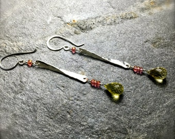 Hammered Silver Lemon Quartz Earrings | Drop Earrings | Handmade Hammered Silver Dangle Earrings