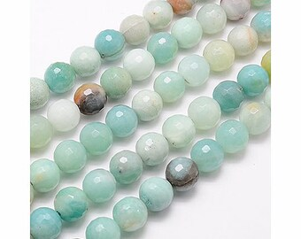 Faceted Amazonite Beads, 10mm Round - 15 inch strand - eGF-AZ001-10