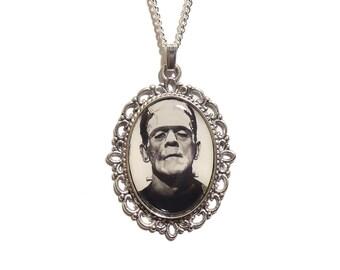 Frankenstein necklace Frankenstein's monster pendant silver UNIVERSAL STUDIOS Boris Karloff 1931 gothic goth