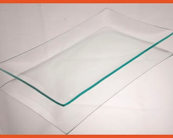 Clear Glass Rectangle Plate, 8 x 12, Shallow bend or Regular Bend, serving, platter, American Made, decorate, decoupage, clear glass tray