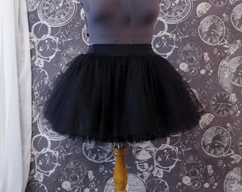 Black Tulle Skirt - Plus Size Adult Knee Length Tutu with Stretch Lycra Wastband - Custom Size - Made to Order