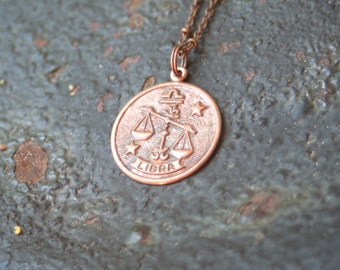 Vintage Copper LIBRA Astrological Sign Astrology Scale Charm Necklace