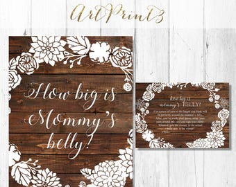 Baby Shower How Big Is Mommy's Belly Game, Printable Floral Baby Shower Belly Guessing Game, Rustic Guess Belly Size Printable Game