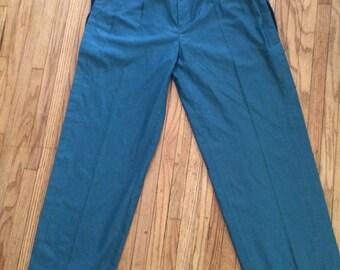 Vintage Green blue Slacks rock n roll pants with black side pistol wild lansky look