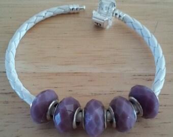 DESTASH - 3mm White Braided Leather Bracelet For Large Hole Beads - 7.5 Inch