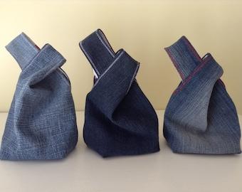 Denim Japanese Knot Bag, Mini Wrist Purse/Bag, Tote Bag, Boho, Recycled Denim, Gift for Her, Handmade, Unique Gift