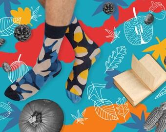 Oakheart Socks, Oak and Leaves Socks, Mismatched Fall Socks, Beautiful Fall Socks for Women and Men, Women Socks, Men Sock