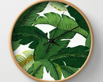 Palm Leaf Wall Clock Palm Leaves Print Clock Banana Leaf Office Decor Clock Modern Office Decor Green Wall Clock Tropical Print Beach Palms