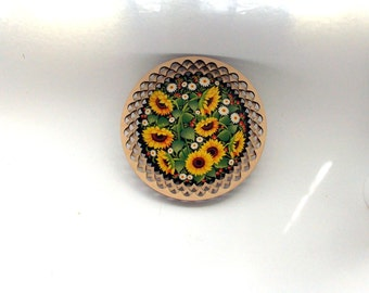 Wooden plate, Wall plate, Hand painted, decoupage, Carved plate, Wall decor, Flowers, Sunflowers, Yellow, Gift, Kitchen decor, For her