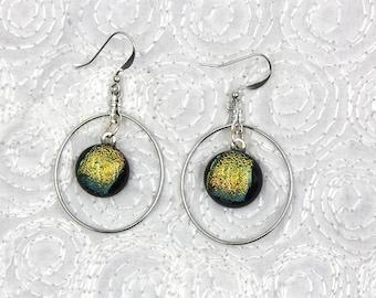 Inspiration Earrings, dangle earrings, dichroic glass earrings, jewelry, yellow, silver hoop earrings