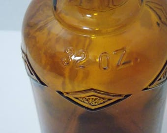 32 ounce INKS Brown bottle embossed Amber bottle vintage decor manufactured by Owens Ill. vintage bottle vintage brown bottle cork finished
