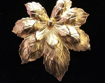 Sarah Coventry Leaf Brooch Pin Gold Tone Roll Over Clasp Vintage Costume Jewelry