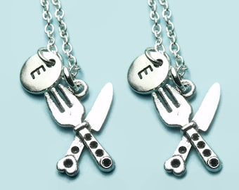 Knife & fork charm necklaces, chef / cook best friend necklaces, matching necklaces, double necklace set, personalised initial, restaurant