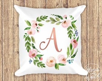 Initial Letter Pillow, Monogram Pillow, Personalized Pillow, Rose Gold, Monogram Cushion, Floral Pillow, Initial Pillow, Pillow with Letter