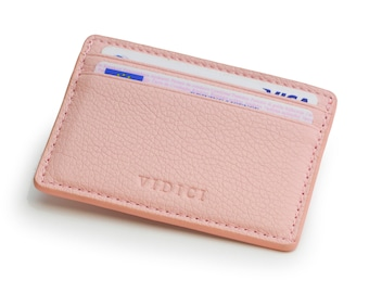 Pebble Vegan Leather Card Holder Wallet in Pastel Colours